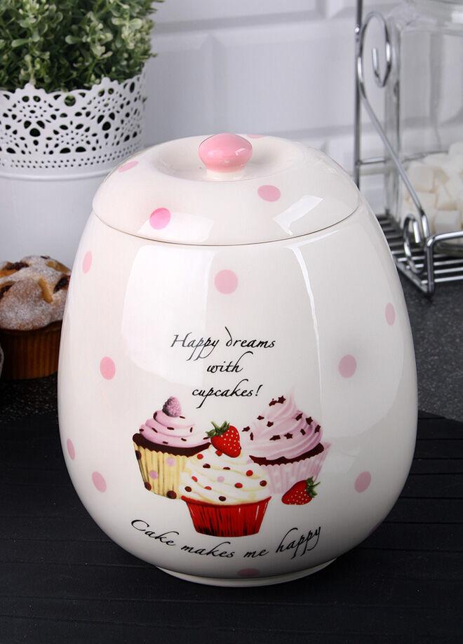 Queen's kitchen Porselen Cupcake Dekorlu Jumbo Kurabiye Kavanozu - C-Cup-0014030/12