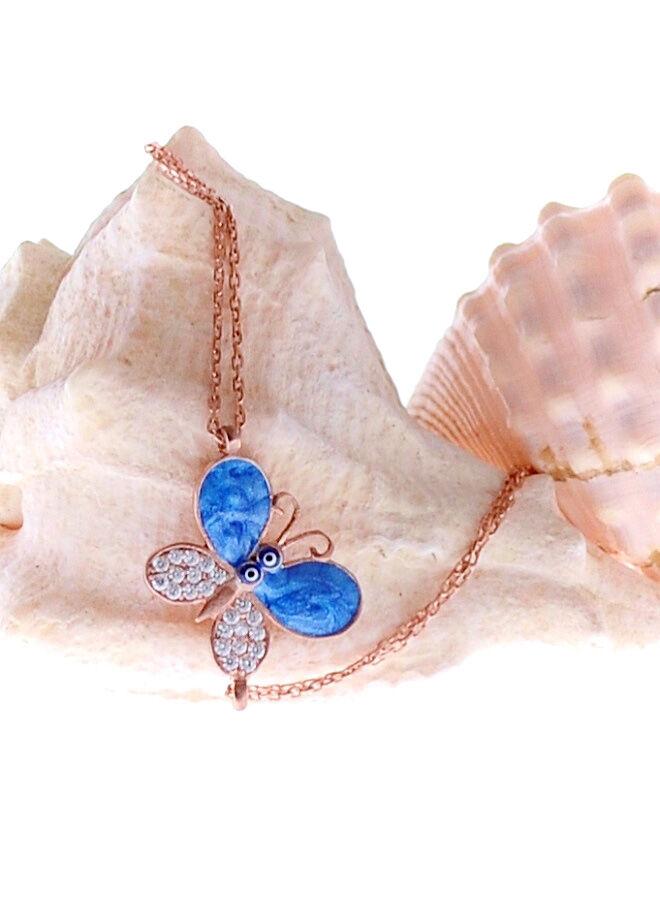 Mavi Sedefli Rose Kelebek Bileklik-RMS46547