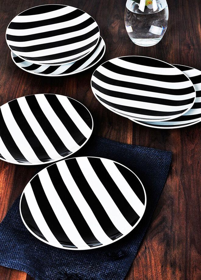 Keramika Tabak Alfa Servıs 27 Cm Beyaz 004 Sımetrı Sıyah 27 Cm Alfa Tabak A