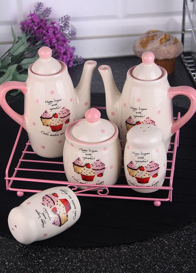 Queen's kitchen Porselen Cupcake Dekorlu Metal Standlı Yağ/Sirke/Tuz/Biber/Baharatlık Tk - C-Cup-0014211/12