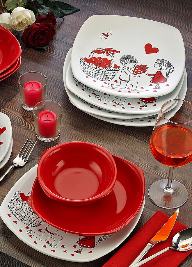 Keramika Takım Yemek Kosem 24 Parca Beyaz004-Kırmızı 506 Kera-Mıra A