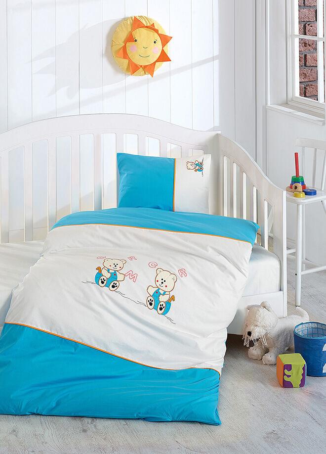 Eponj home Akfil Bebek Nakışlı Nevresim Takımı Ayıcıklı Mavi