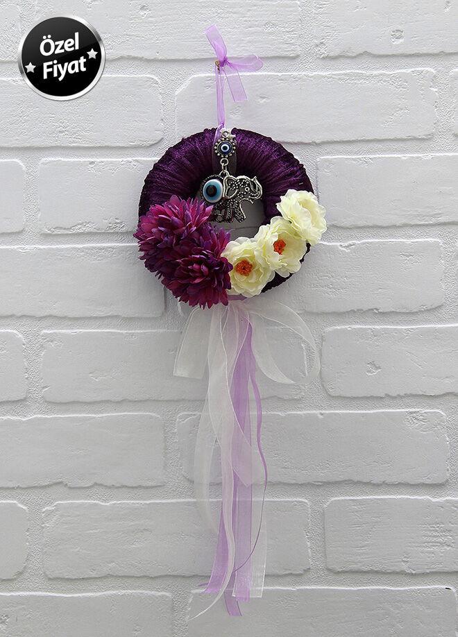 Chiccy deco life Mor Kadife Filli Çiçekli Oda Kapısı Süsü