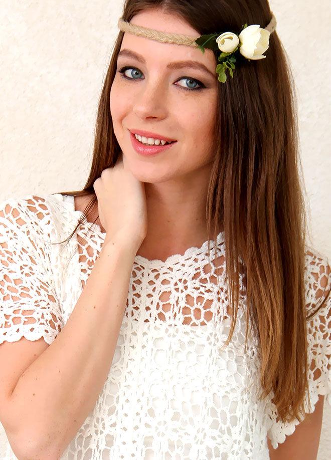 Chiccy Jüt Örgü İpli Beyaz Güller Romantik Saç Aksesuarı-CDX04H7544