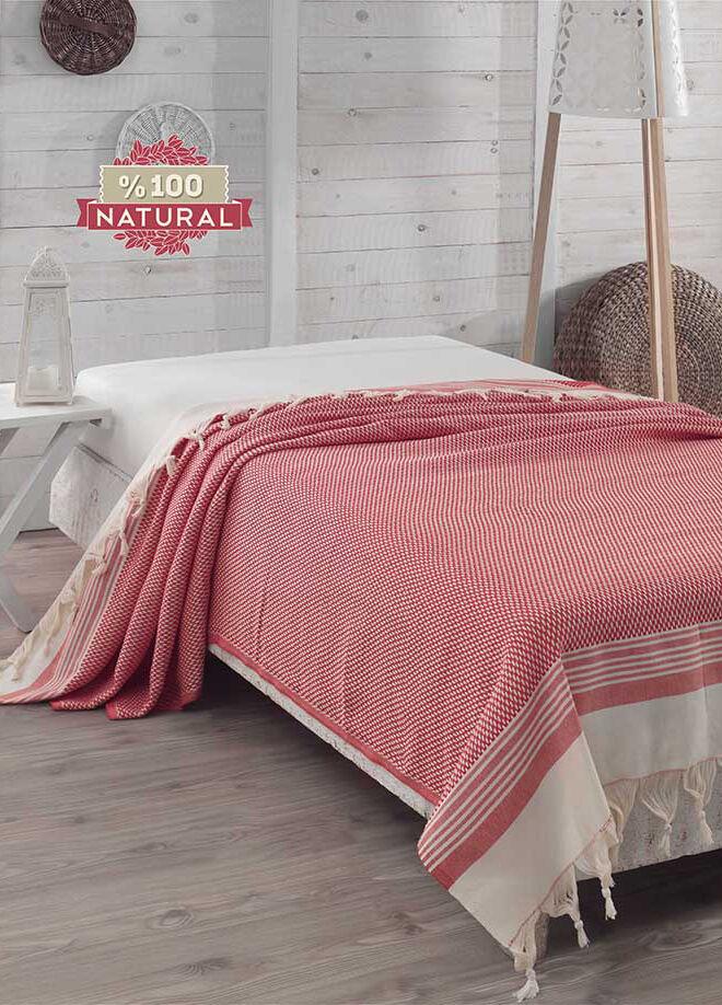 Eponj home Natural Yatak Örtüsü Hasır Kırmızı Battal Boy