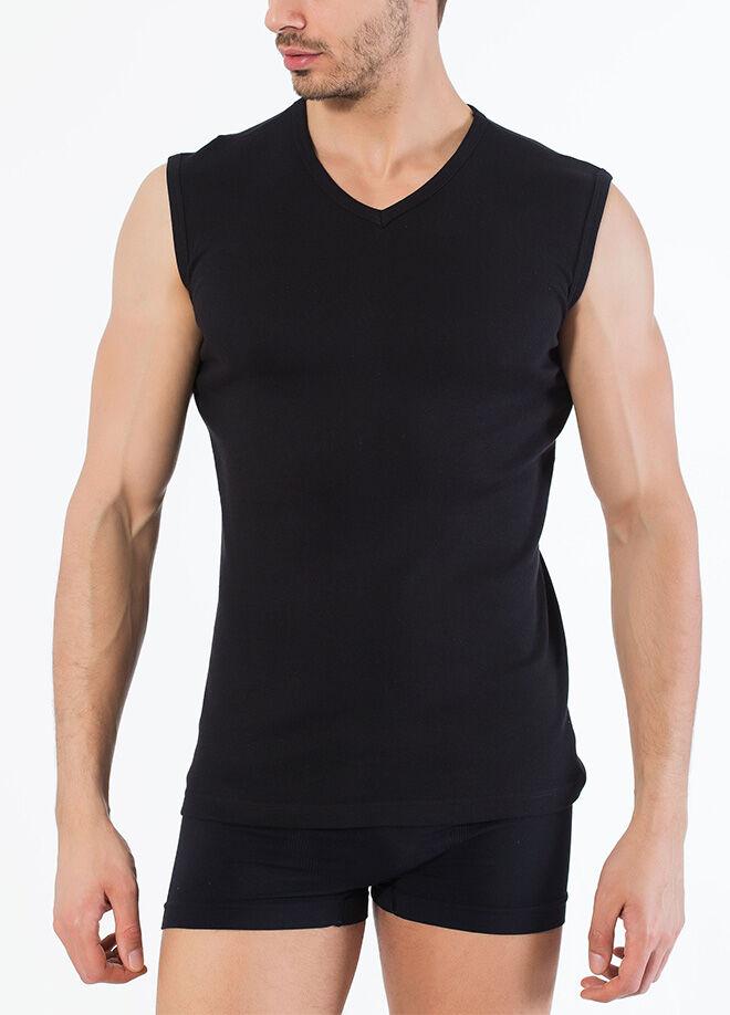 Siyah İnci 2'Li Pamuklu V Yaka Kolsuz T-Shirt