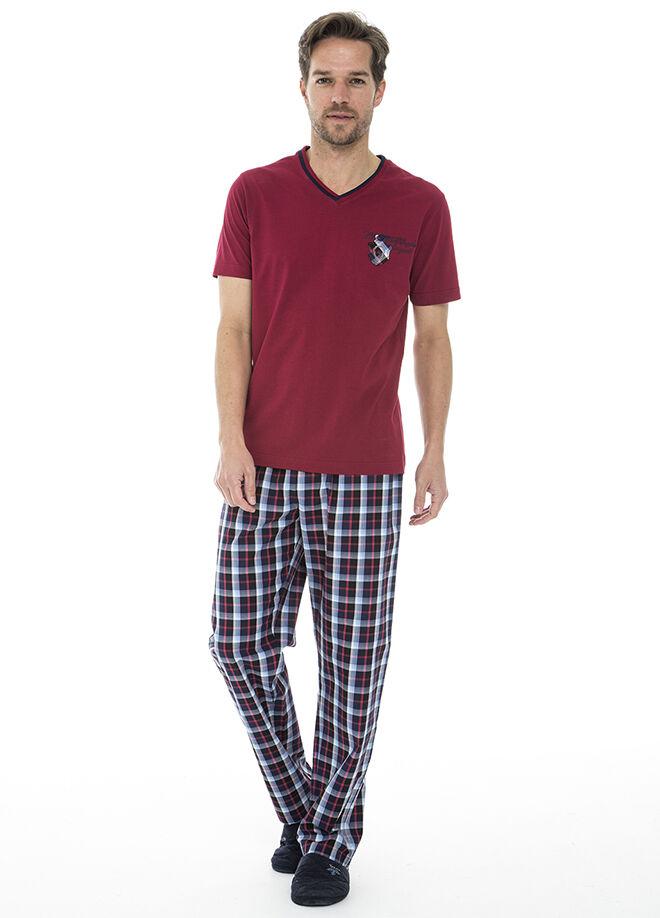 Dagi V Yaka Kısa Kol Altı Ekoseli Pijama Takımı
