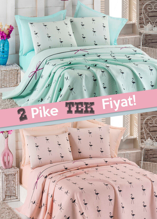 Eponj home 2'li Pike Tek Kişilik Flamingo Mint-Pudra