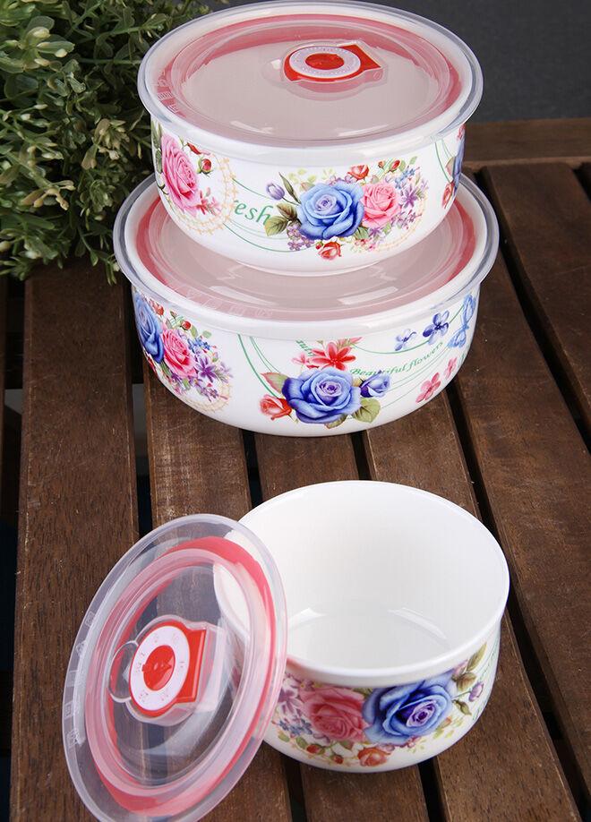 Queen's kitchen Porselen Vakum Kapaklı 3'lü Lüx Saklama Takımı