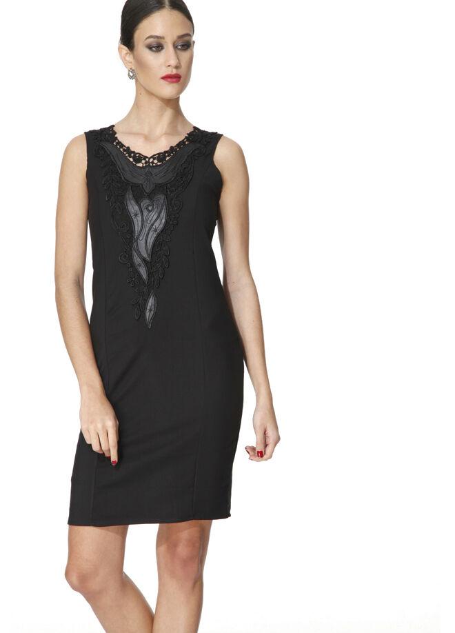 Miss Selen's yakası dantelli deri parçalı elbise