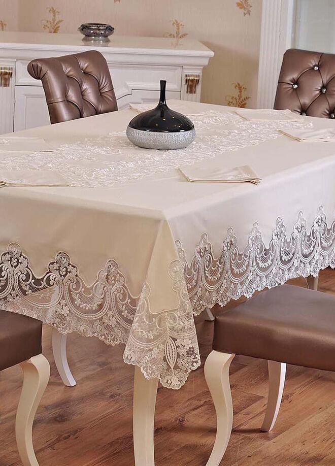 Evlen home collection Ebrari Masa Takımı - 26 Parça Krem