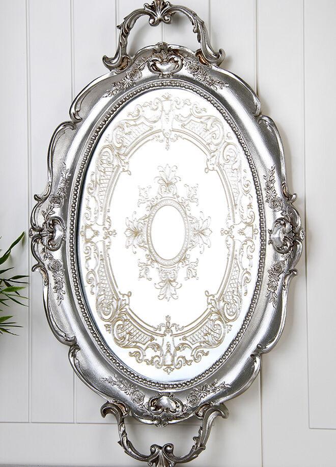 Queen's kitchen Polyester Lüx Tepsi  - AY-Nakışlı-Gümüş