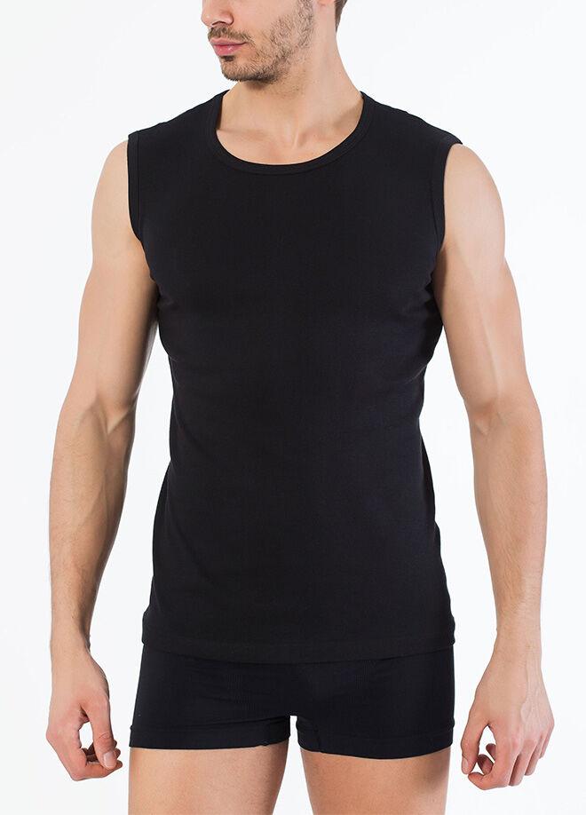 Siyah İnci 2'Li Pamuklu Yuvarlak Yaka Kolsuz T-Shirt
