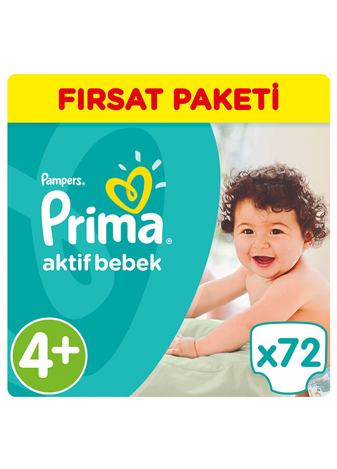 Prima Aktif Bebek 4+ Beden Maxi Plus Hiper Ekonomik Paketi 72 Adet
