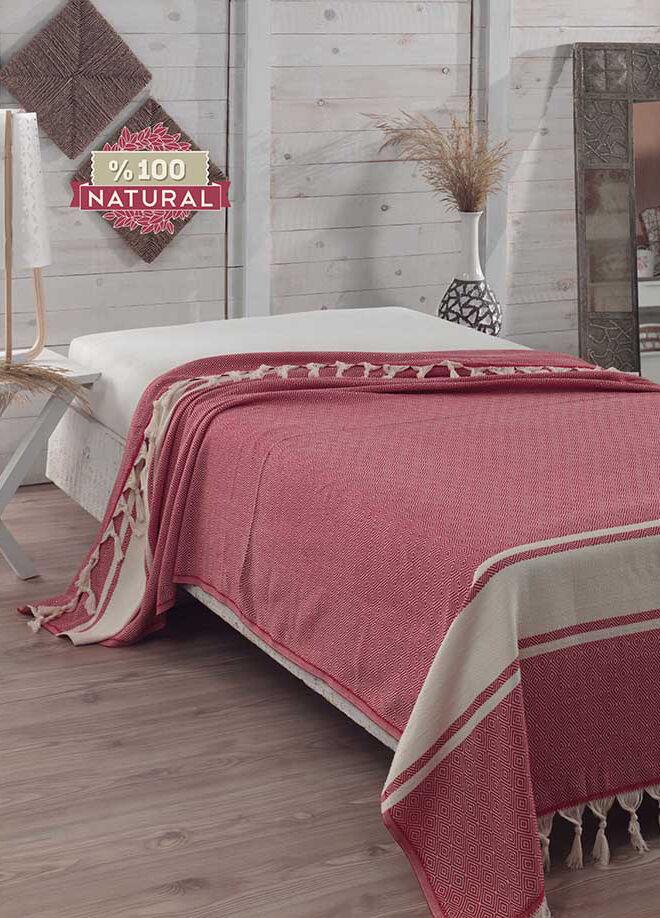 Eponj home Natural Yatak Örtüsü Elmas Kırmızı Battal Boy