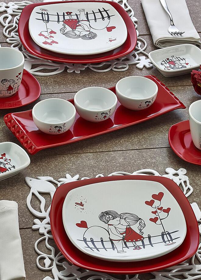 Keramika Set Kosem Kahvaltı 14 Parca Beyaz 004-Kırmızı 506 Kera-Mıra A