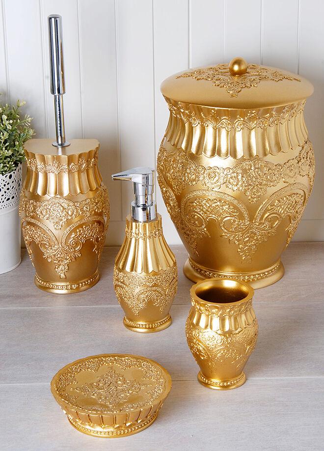 Queen's kitchen Polyester 5 Parça Lüx Çöp Kovalı Banyo Seti - AY-101-Altın
