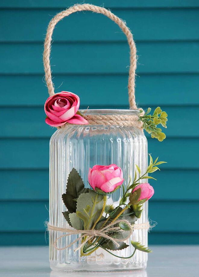 Gift concept Pembe Güller Ham Halatlı Askılı Romantik Dev Cam Mumluk