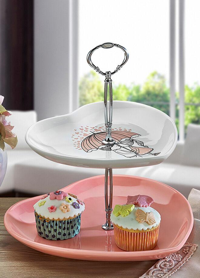 Keramika Set Meyvalık Kalp 2 Katlı Beyaz 004-Pembe 550 Pınk Love Keramıra A