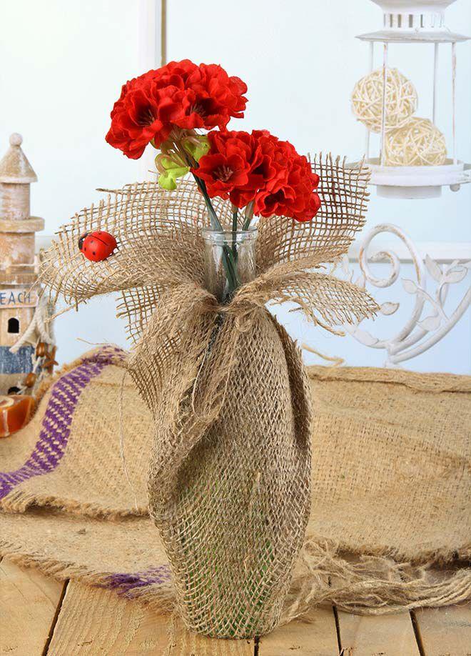 Gold Case Natural Süslemeli Uzun Cam Vazolu Çiçek Kırmızı
