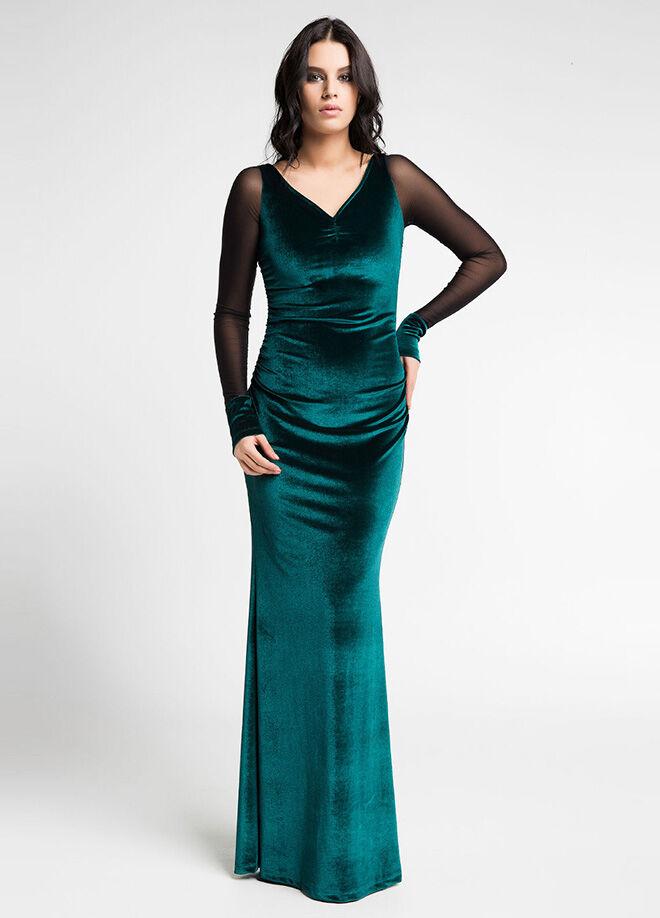 Laranor L50x-Tül Detaylı Kadife Abiye Elbise