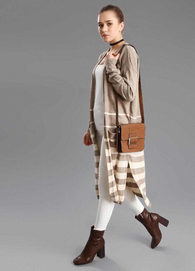Pc Tekstil Hırka Uzun Çizgili