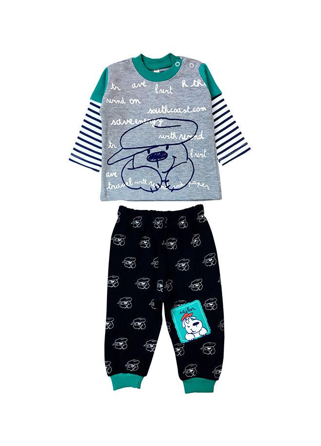 By Leyal for Kids Şapkalı Köpekcik Detaylı Tshırt Ve Pantolon Takım-8600