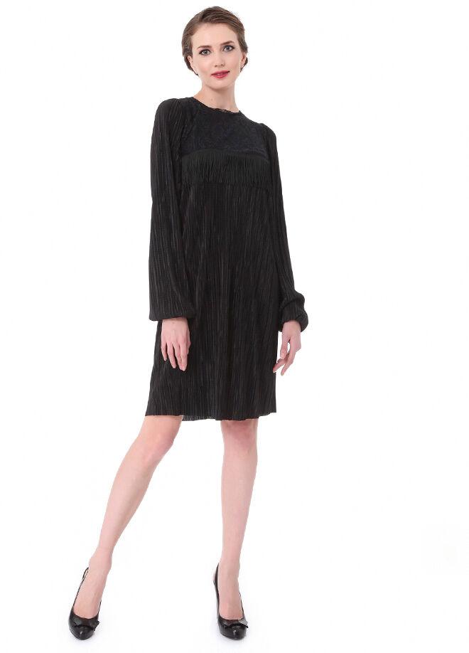 Laranor Dantel Ve Püskül Detaylı Plise Elbise