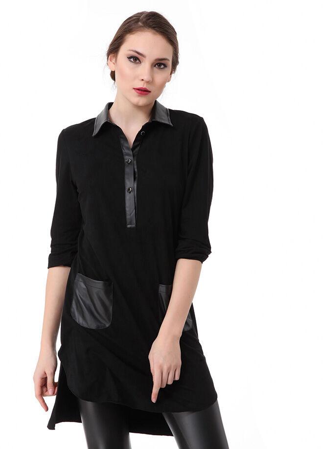 Laranor Deri Detaylı Nubuk Tunik Elbise