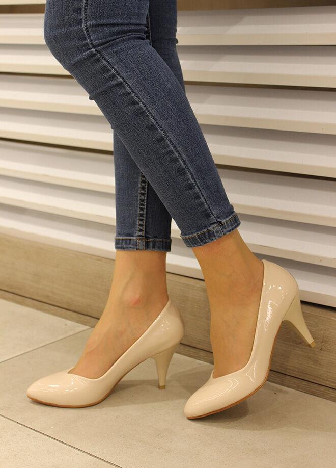 Pembe Potin Klasik Topuklu Ayakkabı