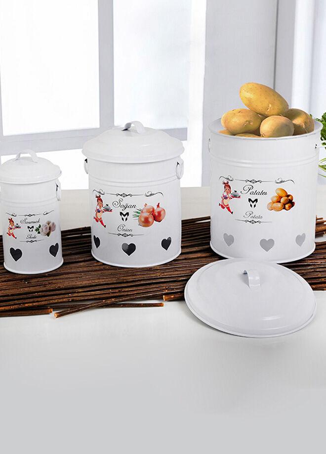 Keramika Metal Baklıyat 3Lu Set Beyaz (Patates-Sogan-Sarımsak)