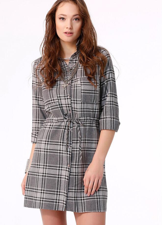 Ola L16 Ekose Gömlek Elbise