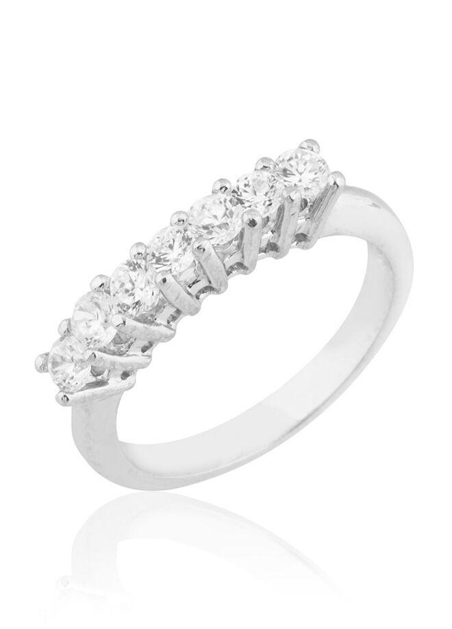Femmevien 925 ayar gümüş d colour pirlanta rengi zircon 7 taş yüzük-ZR2150BB1