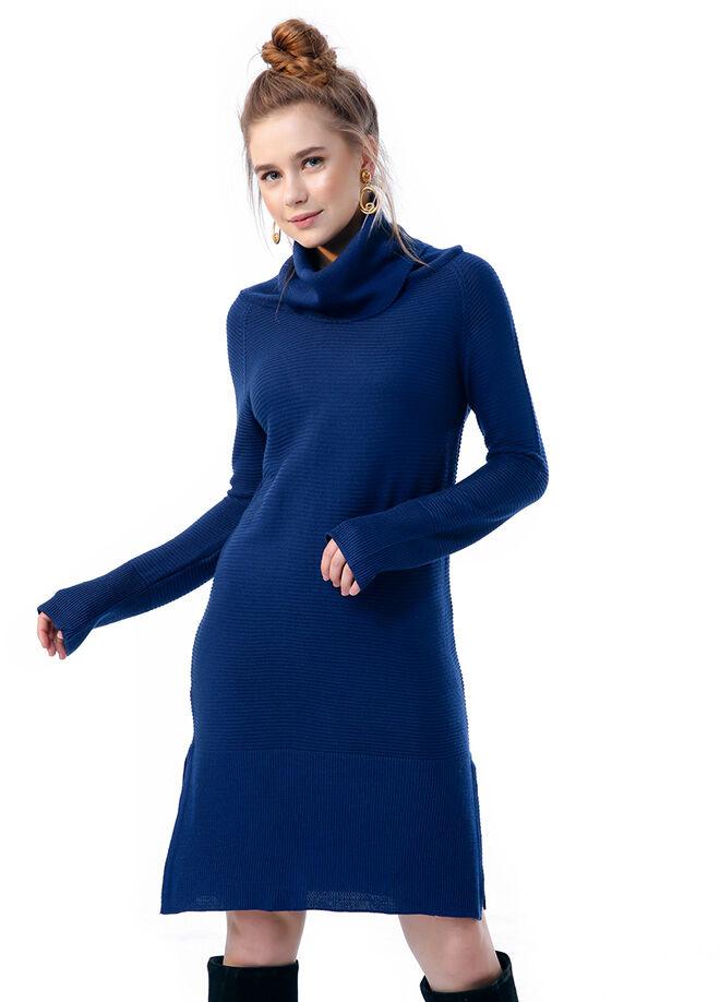 Ola L17 Degaje Yakalı Yırtmaçlı Tunik Elbise