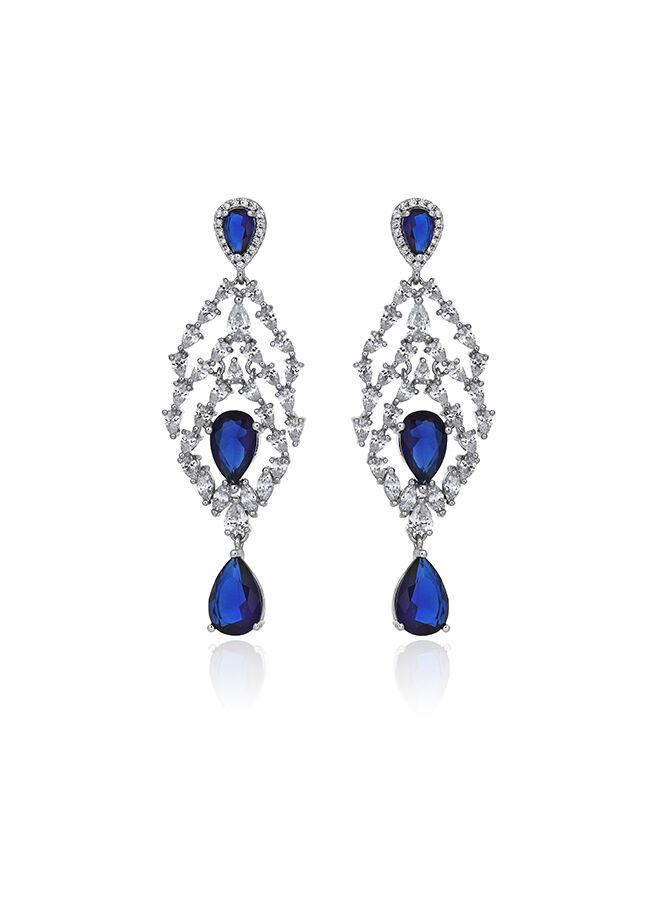 Tophills Diamond Co. 9,8ct Pırlanta Altın Safir Schandelier Queen Küpe