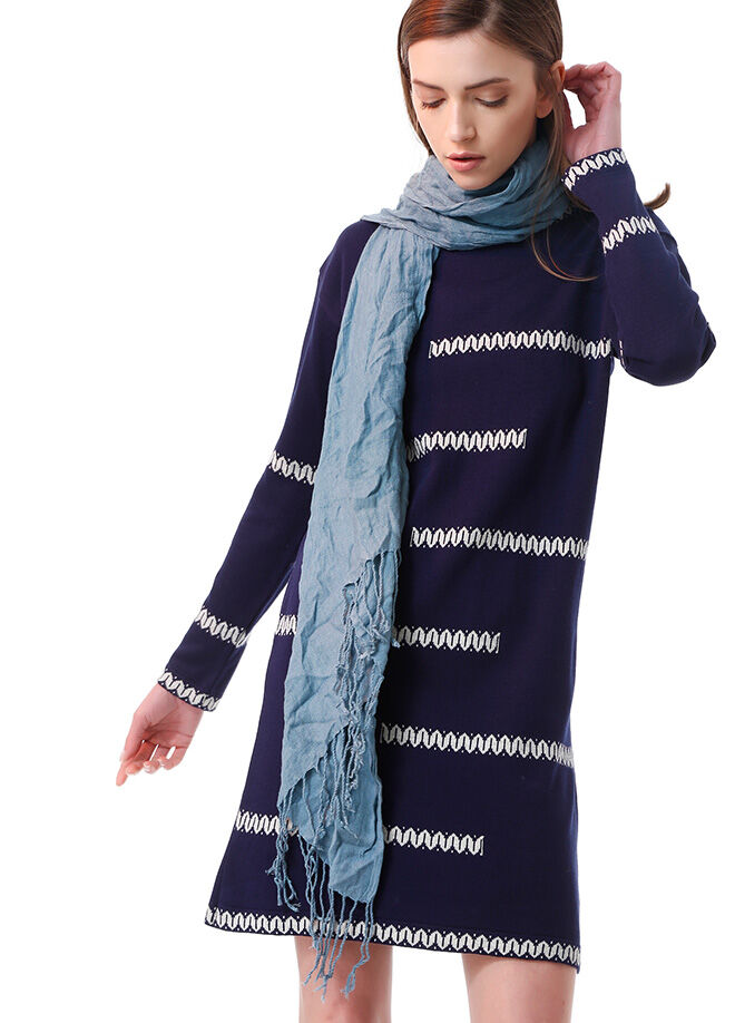 Ola L8 Zi̇Gzag Desenli Tunik Elbise