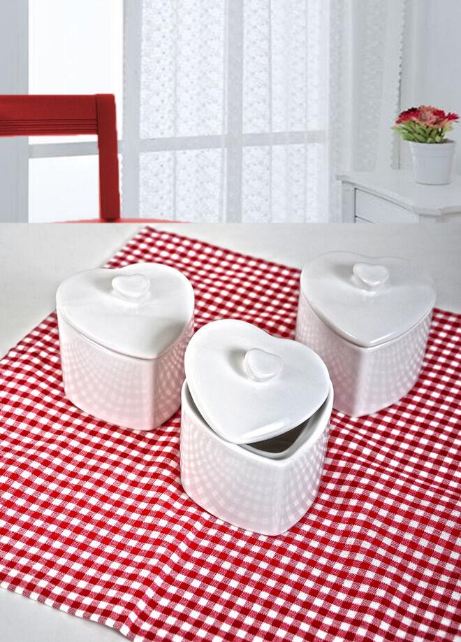Keramika Set Kalp Pınk Kahvaltı 17 Parca Beyaz 004-Pembe 550 Pınk Love Keramıra A