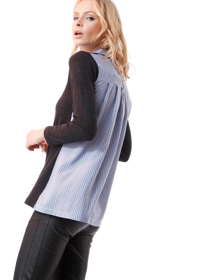 Ola L4 Sırtı Fermuarlı Gömlek Yaka Bluz