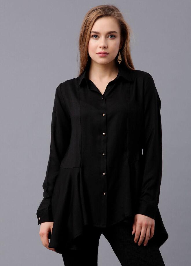 Armonika Eteği Fırfırlı Tunik Gömlek