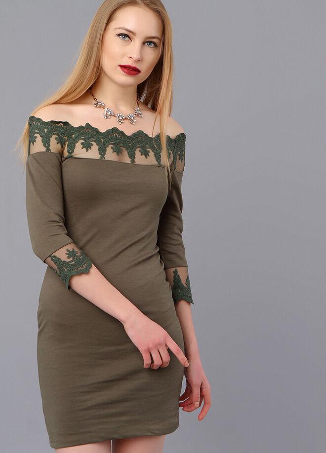 Miss Selen's Omuzu Ve Kol Ucu Dantelli Elbise