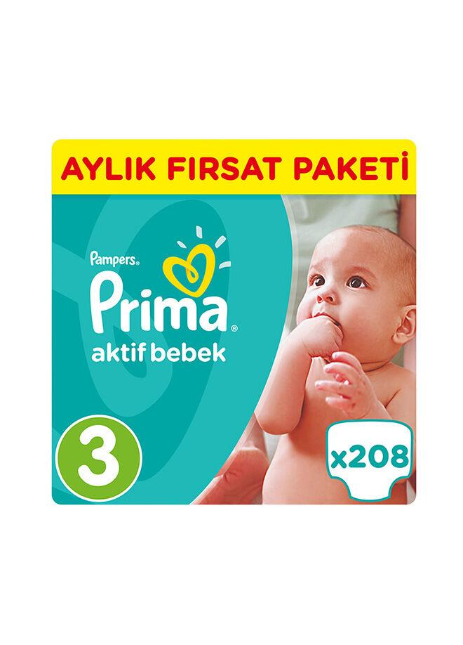 Prima Prima Bebek Bezi Aktif Bebek 3 Beden Midi Aylık Fırsat Paketi Paket 208 Adet