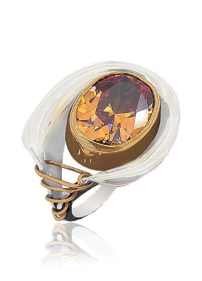 Söğütlü Silver Sitrin Taşlı Gümüş Yüzük-sgtl3436-11