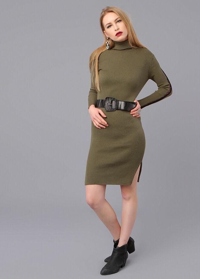 Miss Selen's Balıkçı Yaka Kolları Dantel Şeritli Triko Elbise