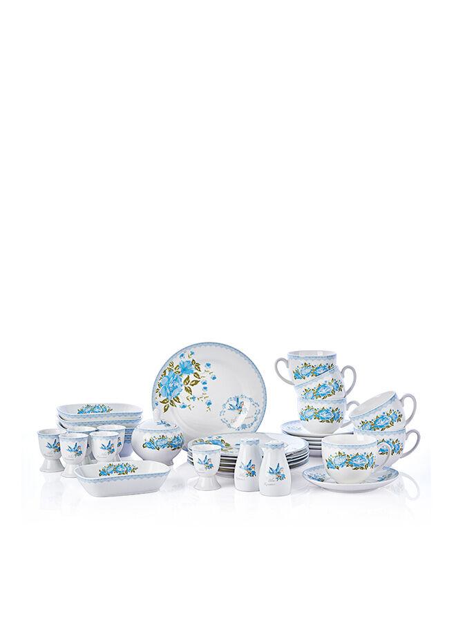 Bernardo 33 Parça Blue Romance New Bone China Kahvaltı Takımı - FSN2015-018