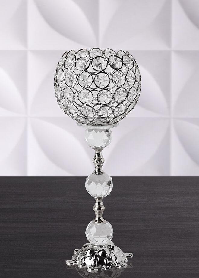 Queen's kitchen 32cm Lüx Taşlı Şamdan Gümüş