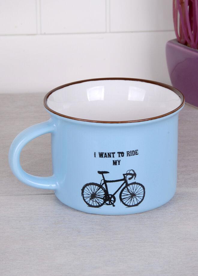 Queen's kitchen Vintage Bisiklet Desenli Porselen Kupa