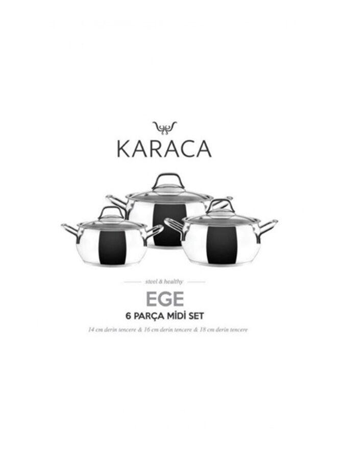 Karaca Ege 6 Parça Midi Çelik Tencere Seti Metal