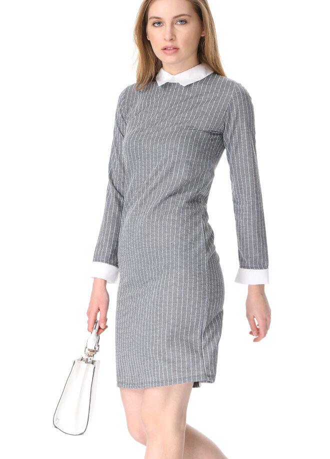 Butix Çizgili Arkası Fermuarlı Gömlek Yakalı Elbise