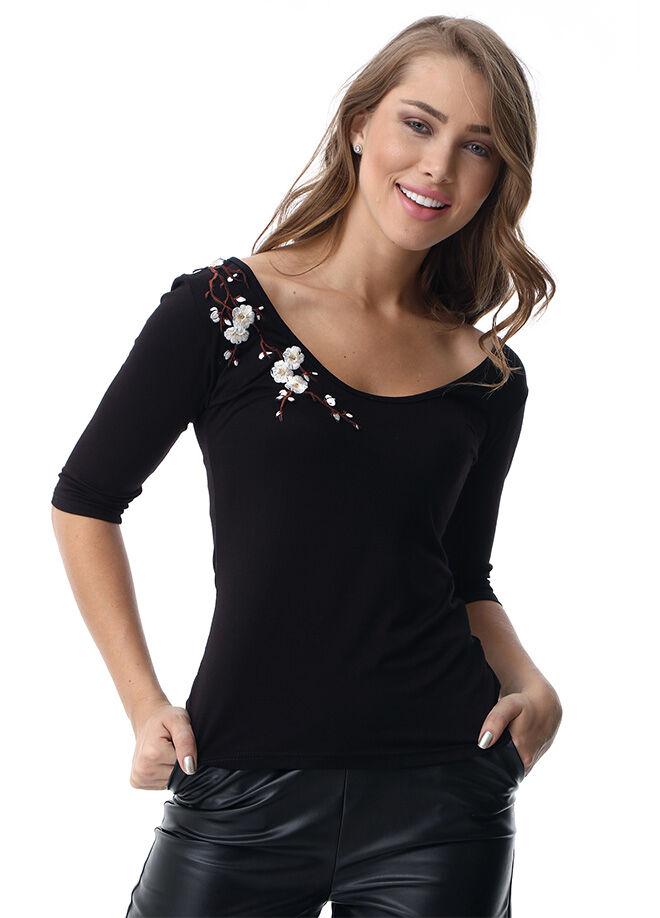 Du jour paris Dp20-V Yakalı Çiçek Motifli T-Shirt