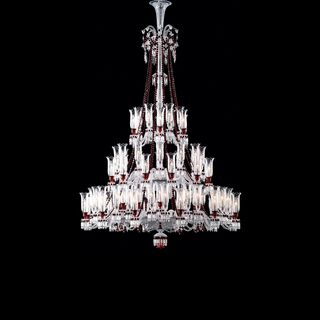 ZÉNITH CHANDELIER 36 TO 84 LIGHTS, Clear & red